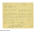 """Autographs:Inventors, Thomas Edison Note Signed """"OK Thos. A. Edison."""" One page,5.25"""" x 5"""", np, January 4, 1921. The note reads, """"Mr.Hancoc..."""