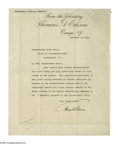"""Autographs:Inventors, Thomas A. Edison Typed Letter Signed """"Thos. A. Edison."""" One page, 8.5"""" x 10.75"""", personal letterhead, Orange, New Jersey..."""