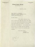 Autographs:Statesmen, Frederick H. Gillett, 3-Time Speaker of the House, Letter reConservation. Typed Letter Signed, as senator, 1 page, on the l...