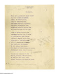 "Autographs:Authors, Julia Ward Howe Typed Manuscript Signed, being a working draft of her poem ""The Capitol"", bearing numerous autograph notat..."