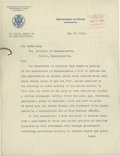 Autographs:Statesmen, Noteworthy 1918 Letter from Secretary of State Robert LansingRegarding the Registration of Aliens. Dated May 17, 1918, on D...