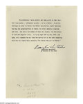 "Autographs:Military Figures, Douglas MacArthur Famous Quotation Signed. Typed Quotation Signed,as General of the Army, 1 page, 8"" by 10.5"", no place..."