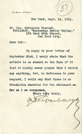 "Autographs:Celebrities, J.P. Morgan: A Rare Letter - With Fiery Content! Typed letterSigned, 1 page, 5"" by 8"", on the printed letterhead of 23 Wall..."