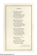 "Autographs:Celebrities, Samuel Francis Smith Printed ""America"" Lyrics Signed. Four completestanzas of this popular patriotic song are printed on a ..."