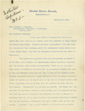 Autographs:Statesmen, John W. Weeks: 2 Good Content Letters, as Senator and as Secretaryof War. Here is an opportunity to obtain two letters of ... (Total:2 items)