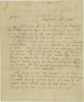 """Autographs:Military Figures, Jasper Yeates (1745 - 1817), Jurist and Pennsylvania revolutionary, Autograph Letter Signed """"J: Yeates"""", two pages, 7.5""""..."""