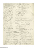 """Autographs:Artists, Will Rogers, John Ringling, and assorted Signatures on Large Card. One page, 8.5"""" x 11.8"""", card stock sheet, np, nd. This ..."""