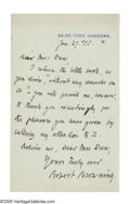 "Autographs:Authors, Robert Browning Autograph Letter Signed Robert Browning."" One page, 4.25"" x 7"", De Vere Gardens, London, January 27t..."