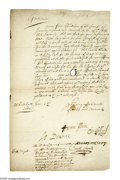 Autographs:Non-American, [Charles I] Collection of Regicides: The Judges Who Sent Him To TheScaffold. This lot is comprised of four pieces, chief a...