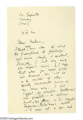 "Autographs:Authors, Aldous Huxley Autograph Letter Signed ""Aldous Huxley."" Twopages, 4.5"" x 7"", Sanary, France, September 9th, 1932. Th..."