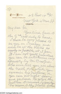 "Autographs:Inventors, Eadweard Muybridge Autograph Letter Signed ""E. Muybridge.""Two pages, 5"" x 8"", personal letterhead, New York, March ..."