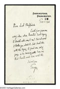 """Autographs:Authors, Alfred Lord Tennyson Autograph Letter Signed """"Tennyson."""" Onepage, 8vo, Farringford Freshwater I.W. (Isle of Wight), F..."""