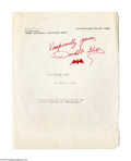 "Books:Signed Editions, Donald Glut Autograph Manuscript Signed of The Dracula Book.""Had you not answered me in this fashion, I would truly hav..."