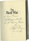Books:Signed Editions, Richard Nixon Signed Book: The Real War (New York: WarnerBooks, 1980), fourth printing, 341 pages, red cloth, 8vo (6.25...
