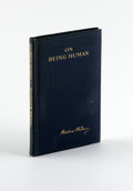 Books:Signed Editions, Woodrow Wilson Book Signed: On Being Human (New York: Harper& Brothers, 1897), first edition, 55 pages, blue cloth with...
