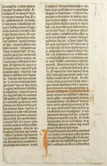 Books:Non-fiction, Original Leaf from a Gutenberg Bible (Ezekiel 39:7 - 40:27) alsoknown as the Mazarin Bible and the 42-Line Bible. Printed i...