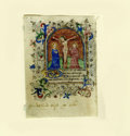 Books:Non-fiction, Horae B.M.V. 1350 Illuminated Manuscript Leaf- theCrucifixion of Christ picturing His Mother Mary and St. John. Am...