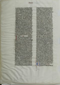 "Books:Non-fiction, Manuscript Bible Leaf (Latin Vulgate). 15th Century on VellumNorthern Europe Approximately 17"" x 12"". Three colors- black,..."