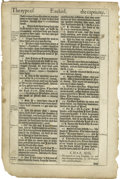 """Books:Non-American Editions, Leaf From Original King James Bible, 2 pages, large folio, 10.25"""" x16.0"""", printed by Robert Barker, London, 1611. The King..."""