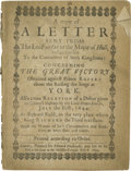 Books:Pamphlets & Tracts, 1644 Printed Letter Concerning the Siege at York A copy of ALetter Sent From The Lo: Fairfax to the Major of Hull; andby...