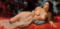 Mainstream Illustration, Earl Moran (American, 1893-1984). Nude with Pink Blanket.Oil on board. 18 x 36 in.. Signed lower left. ...