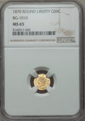 California Fractional Gold , 1870 50C Liberty Round 50 Cents, BG-1010, R.3, MS65 NGC. NGCCensus: (5/3). PCGS Population (19/6). ...