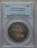 Early Half Dollars, 1806 50C 6 Over Inverted 6, O-111a, T-11, R.4, PCGS Genuine. ThePCGS number ending in .92 suggests cleaning as the reason,...