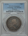 Early Half Dollars: , 1795 50C 2 Leaves -- Cleaned -- PCGS Genuine. VG Details. NGCCensus: (73/618). PCGS Population (178/1293). Mintage: 299,68...