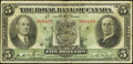 Canadian Currency: , Montreal, PQ- The Royal Bank of Canada $5 July. 3, 1933 Ch. #630-16-02. ...