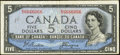 Canadian Currency: , BC-31b $5 1954 Devil's Face with Near Solid Serial Number 6666066.....
