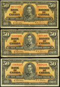 Canadian Currency: , BC-26b $50 1937, Three Examples. ... (Total: 3 notes)