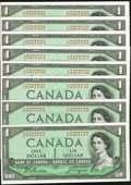Canadian Currency: , BC-37a $1 1954, Eight Examples with Fancy Serial Numbers. ...(Total: 8 notes)