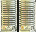Canadian Currency: , BC-46a $1 1973 Low Two-Digit Serial Numbers Sixty-four Examples. ... (Total: 64 notes)