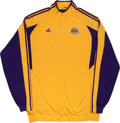 Basketball Collectibles:Uniforms, 2009 Andrew Bynum Game Worn NBA Finals Shooting Jacket & Pants....