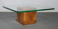 Furniture , Edward Wormley (American, 1907-1995). Cubed Coffee Table, circa 1945, Modern by Dunbar. Burled olive veneer, plywood, gl... (Total: 2 Items)