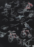 Works on Paper, Viktor Schreckengost (American, 1906-2008). Tricycle Design. Pastel on black paper. 27 x 21 inches (68.6 x 53.3 cm) (sig...