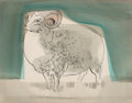 Fine Art - Work on Paper:Drawing, Viktor Schreckengost (American, 1906-2008). Sheep #2, circa1953. Watercolor and ink on board. 7-3/8 x 9-1/4 inches (18....