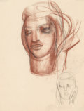 Fine Art - Work on Paper:Drawing, Viktor Schreckengost (American, 1906-2008). Woman's Head, Studyfor Niobe . Soft pastel on tracing paper, circa 1937. 23...