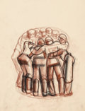 Fine Art - Work on Paper:Drawing, Viktor Schreckengost (American, 1906-2008). Huddle of FootballPlayers, circa 1930-4. Soft pastel on tracing paper. 23-3...