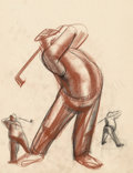 Fine Art - Work on Paper:Drawing, Viktor Schreckengost (American, 1906-2008). Golfer, circa1930-4. Soft pastel on tracing paper. 23-1/2 x 18-3/4 inches (...
