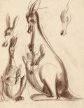 Fine Art - Work on Paper:Drawing, Viktor Schreckengost (American, 1906-2008). Kangaroo andBaby. Soft pastel on tracing paper. 23-3/4 x 18-3/4 inches(60....