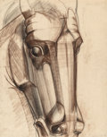 Fine Art - Work on Paper:Drawing, Viktor Schreckengost (American, 1906-2008). Horse's Head 1,Working Drawing for the O'Neill Memorial, circa 1949. Soft p...