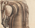 Fine Art - Work on Paper:Drawing, Viktor Schreckengost (American, 1906-2008). Horse's Head 7 &8, Working Drawing for the O'Neill Memorial (two sheets), c...