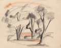 Fine Art - Work on Paper:Drawing, Viktor Schreckengost (American, 1906-2008). Landscape. Softpastel on tracing paper. 18-3/4 x 23-1/2 inches (47.6 x 59.7...