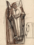Fine Art - Work on Paper:Drawing, Viktor Schreckengost (American, 1906-2008). Horse's Head 2,Working Drawing for the O'Neill Memorial, circa 1949. Soft p...