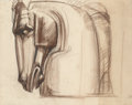Fine Art - Work on Paper:Drawing, Viktor Schreckengost (American, 1906-2008). Horse's Head 5 &6, Working Drawing for the O'Neill Memorial (two sheets), c...