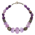 Estate Jewelry:Necklaces, Amethyst, Glass, White Metal Necklace. ...