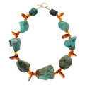 Estate Jewelry:Necklaces, Turquoise, Amber, Sterling Silver Necklace. ...