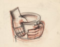 Fine Art - Work on Paper:Drawing, Viktor Schreckengost (American, 1906-2008). Hands Forming a ClayBowl. Soft pastel on tracing paper. 18-3/4 x 23-3/4 inc...