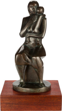 Elizabeth Catlett (American, 1915-2012) Mother and Child, 1977 Bronze with greenish-brown patina